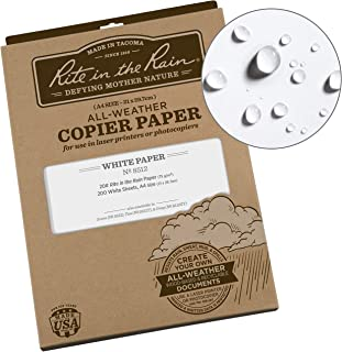 Rite in the Rain Weatherproof Laser Printer Paper, A4 Paper Size 21 x 29.7cm, 20# White, 200 Sheet Pack (No. 8512)