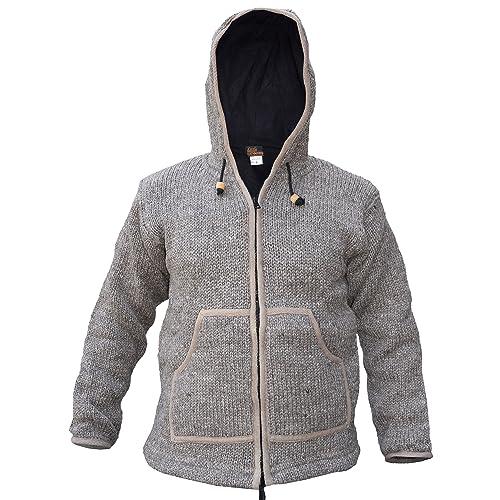 Hand Knitted Natural Woolen Fleece Lined Detachable Hood Winter Jacket Jumper