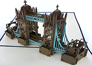 PopLife London Tower Bridge 3D Pop Up Greeting Card for All Occasions - UK Travellers, Architecture and History Lovers - Folds Flat - Birthday, Mother's Day, Graduation, Retirement, Anniversary