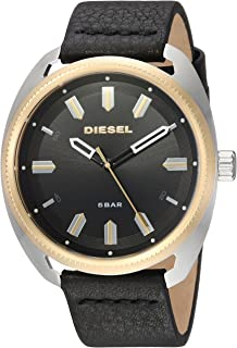 Men's 'Fastbak Quartz Stainless Steel Watch with Leather Calfskin Strap, Black, 22 (Model: DZ1835)