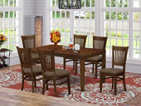 "7 Pc Dining Table with a 12"" Leaf and 6 linen fabric Kitchen Chairs"