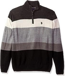 Men's Double Striped 1/4 Zip Sweater