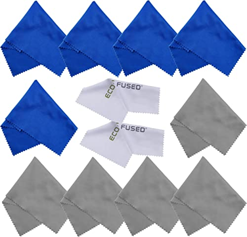 Eco-Fused Microfiber Cleaning Cloths - 10 Cloths and 2 White Cloths - Ideal for Cleaning Glasses, Camera Lenses, Tabl...