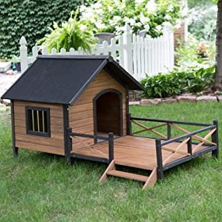 Large Dog House Lodge with Porch Deck Kennels Crates Solid Fir Wood Spacious Deck for Sunny Nap Insulated Keep Rain Out Outdoor 67w X 31d X 38h