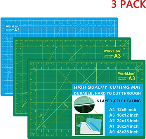 WORKLION Self Healing Cutting Mat - 12 x 18 inch Double Sided 5-Layer Gridded Rotary PVC Cutting Board, for Sewing, Q...
