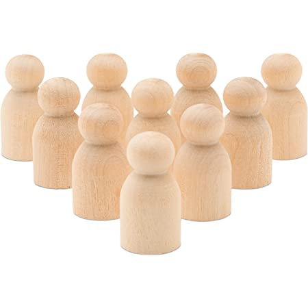 Unfinished Wood Baby Peg Doll 1-1/8 Inch, Bag of 50 Baby Game Pawn Doll Bodies, from Birch by Woodpeckers