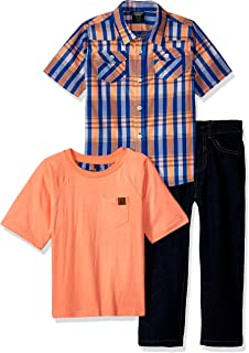 American Hawk Boys' 3 Piece Plaid Sport, T-Shirt Or Creeper, and Jean Set