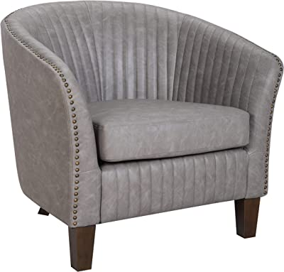 Amazon Com Linon Tyrone Charcoal Tufted Barrel Chair With