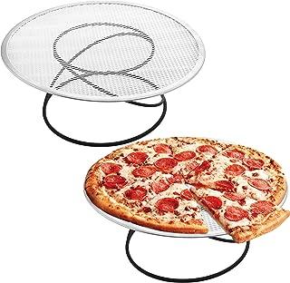 Set of 2 Modern Metal Pizza Tray Pedestal, Circular Serving Platter Stand, Black