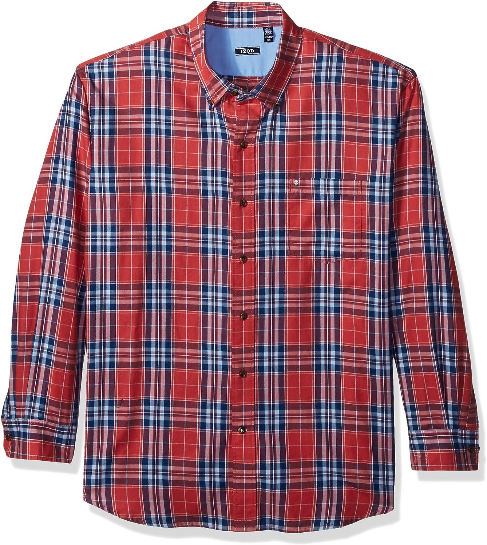 IZOD Men's Fieldhouse Long Sleeve Down Overseas parallel import regular item Luxury Twill Button Plaid Shirt