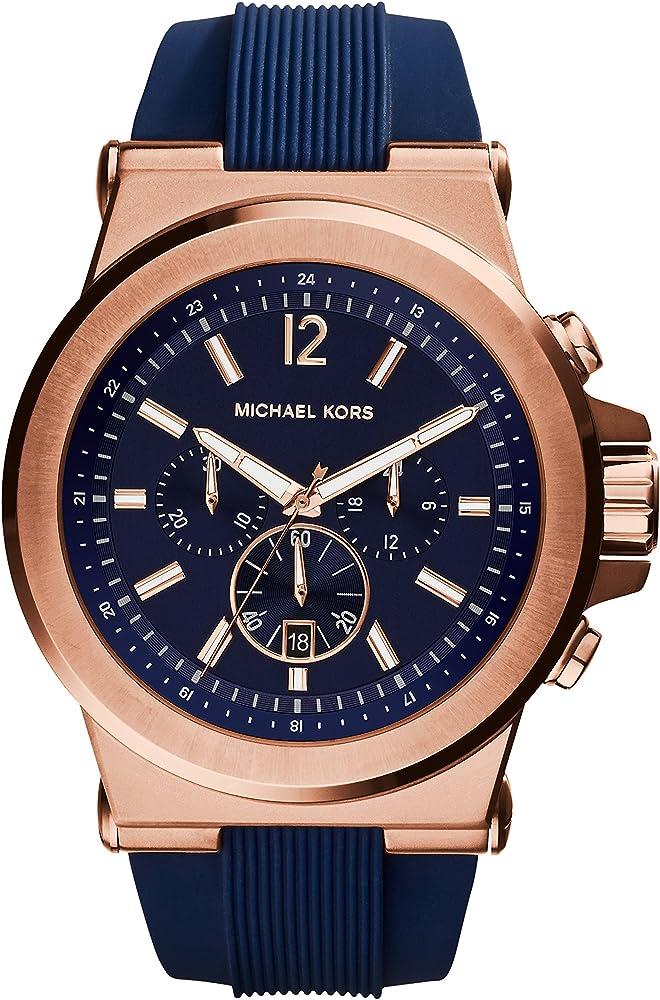 Michael kors orologiocronografo da uomo cassa in acciaio inossidabile cinturino in silicone blu MK8295