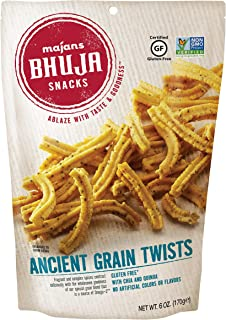 Majans Bhuja Gluten Free Snack Mix, Non-GMO | No Preservatives | Vegetarian Friendly | No Artificial Colors or Flavors, Ancient Grain Twists, 6 Ounce (Pack of 6)