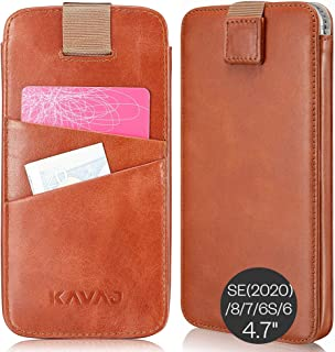 "KAVAJ Case Compatible with Apple iPhone SE (2020), 8, 7, 6S, 6 4.7"" Leather - Miami - Cognac Brown Wallet Cover Phone Case..."