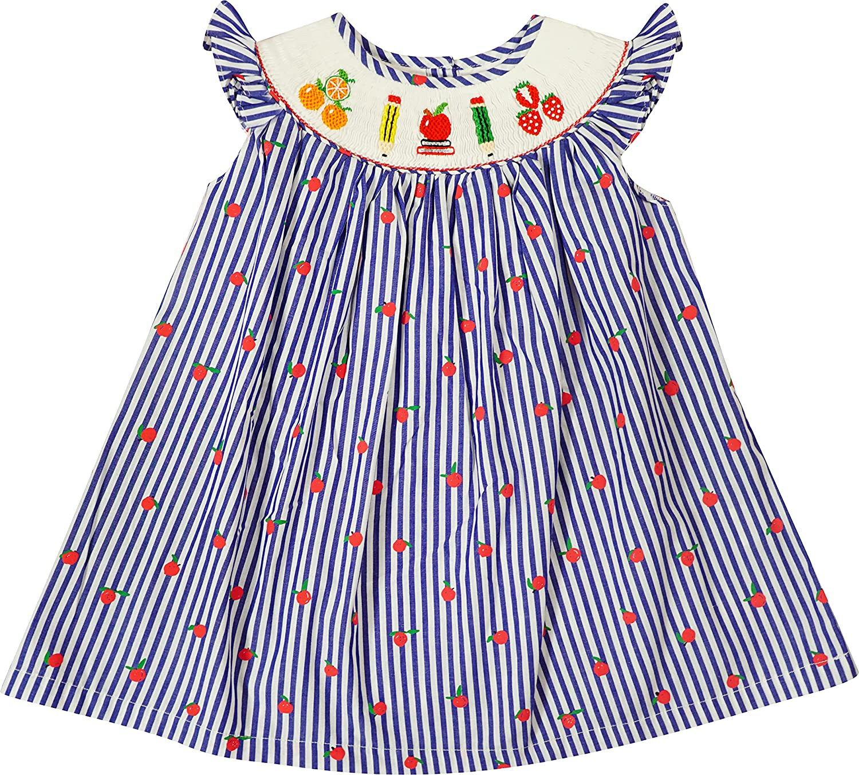 Baby Toddler Little Girls Back to School Apple Books Pencils Navy Stripes Hand Smocked Bishop Dress