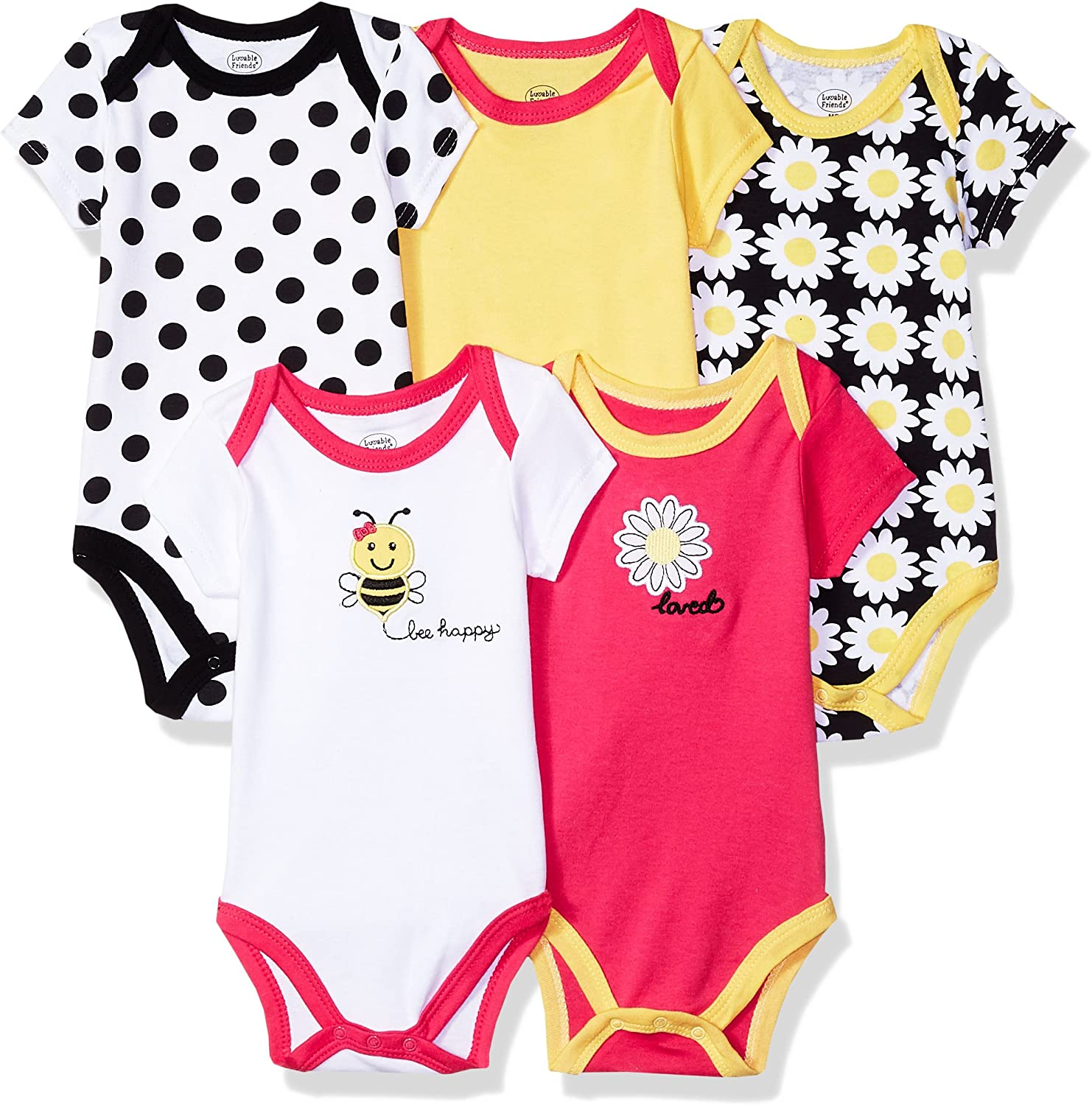 Luvable Friends Set of 5 Baby One-Pieces Bodysuits 0-3; 3-6; 6-9