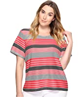 Calvin Klein Plus - Plus Size Short Sleeve Textured Stripe Top