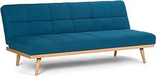 Simpli Home AXCSOF-02-MBU Spencer Contemporary 72 inch Wide Sofa Bed in Mediterranean Blue Linen Look Fabric