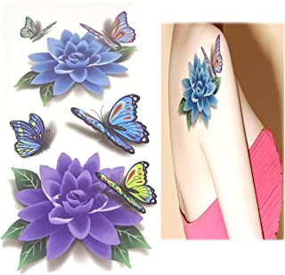 Temporary Tattoos yueton 8 Sheets 3D Colorful Flower Butterfly Body Art Temporary Sticker Lotus Cherry Blossoms Flash Tattoo Designs For Women and Girls
