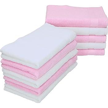 Betz Paquete de 10 Toallas faciales Palermo 100% algodón tamaño 30x30 cm de Color Blanco y Rosa