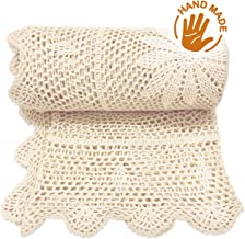Zenviro The Boho Throw 100% Cotton Hand Knitted Lightweight Crochet Macrame Throw Blanket - Couch, Chair, Sofa, Bed (50x60 inch Cream)