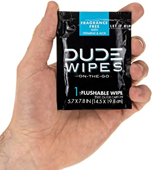 Dude Products Wipes Flushable Wipes, Individually Wrapped Wet Wipes for Travel, Unscented with Vitamin-E and Aloe, 30...