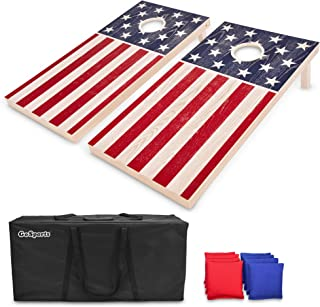 GoSports Flag Series Wood Cornhole Sets � Choose between American Flag and State Flags � Includes Two Regulation Size 4� x 2� Boards, 8 Bean Bags, Carrying Case and Game Rules