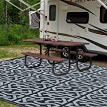 ATDAWN Reversible Mats, Plastic Straw Rug, Fade Resistant Area Rug, Large Floor Mat and Rug for Outdoors, RV, Patio, Deck, Backyard, Picnic, Beach, Trailer, Camping, BBQ (9' x 12', Black & Grey)