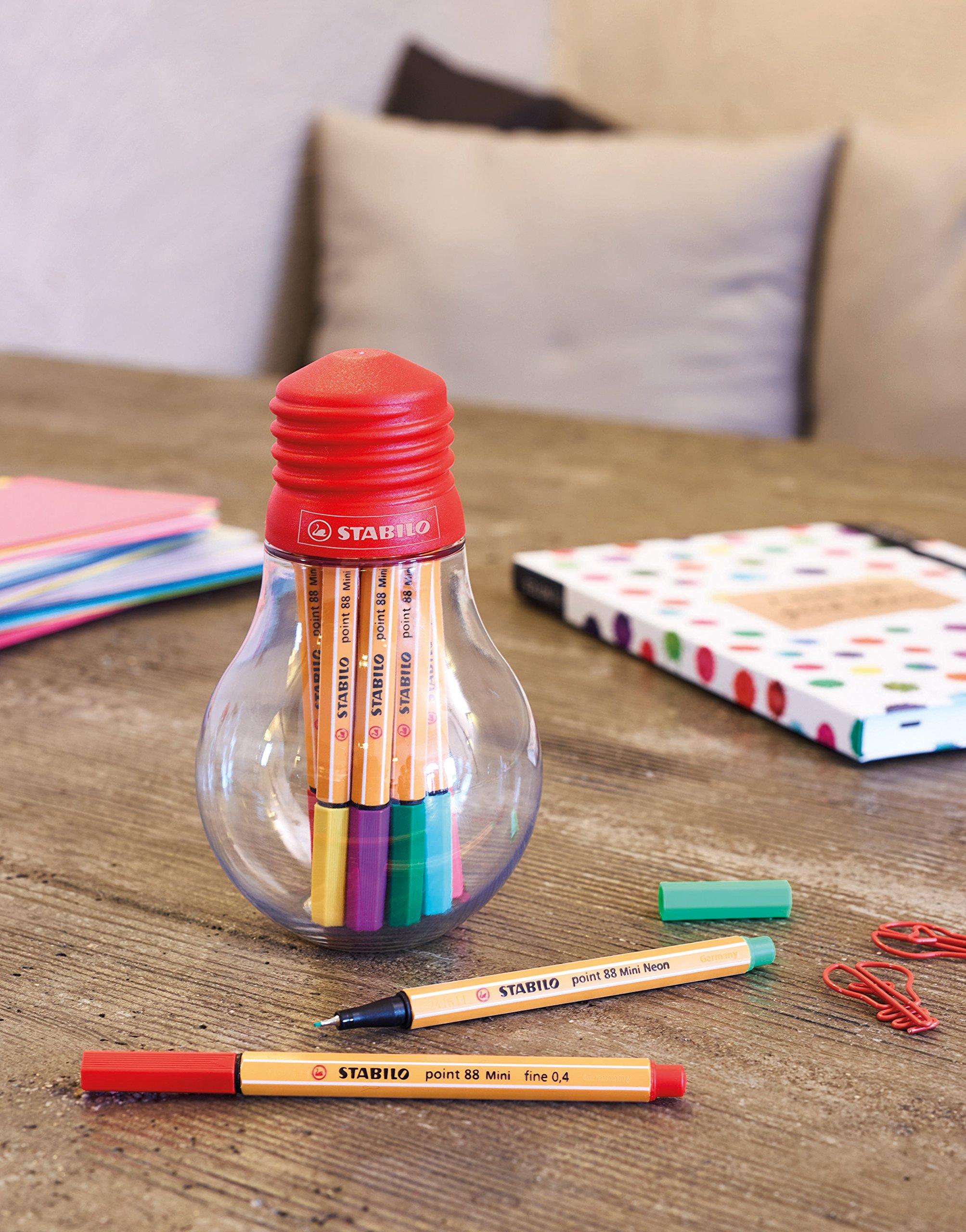 Fineliner – STABILO point 88 Mini – Colorful Ideas – 12er Pack – con 12 Diferentes Colores en bolsa la bombilla: Amazon.es: Oficina y papelería