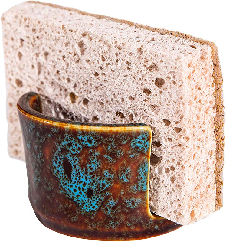 Ceramic Dish Sponge And Scrubby Holder Caddy Drainer For Kitchen Sink Decorative Allows Sponge To Dry Helps Reduce The Odor Of Stinky Sponges Bar Soap Holder For Sink Marbled Turquoise