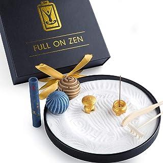 Zen Garden – Incense Kit, Pagoda Temple, White Sand, Rake tools Set and Flow Balls – Japanese Desk Sand Garden to Improve ...
