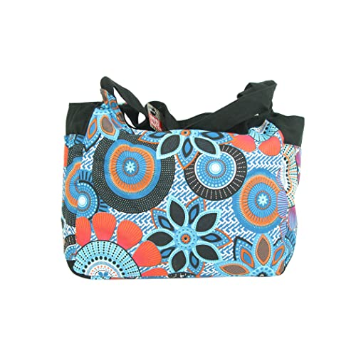 d22d30fe22b0 Extra Large Beach Bag Blue with zipper - Big floral canvas fabric bags for  ladies -
