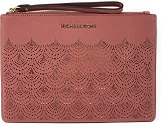 4935b84bd17a1a Michael Kors Jet Set Travel XL Large Lace Zip Clutch Leather Wristlet Purse