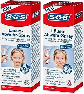 SOS Läuse-Abwehr-Spray, vorbeugendes Spray zur Abwehr von Kopfläusen, bis zu 12 Stunden zuverlässiger Schutz vor Läusebefall, dermatologisch getestet und für Kinder ab 1 Jahr geeignet, 2x100ml Spray