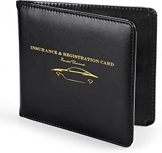 Nogis Slim Thin Leather Wallet Holder for Auto Car Insurance Registration, Driver License, Credit Card ID, Car Document ID with Strong Magnetic, Black