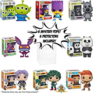 Funko POP Mystery - All Cartoon Animation Bundle Pack Set of 6! Random 6 POPS! NO Duplication! Includes 6 Golden Groundhog Plastic Protector Cases! Bundle Produced by Golden Groundhog!