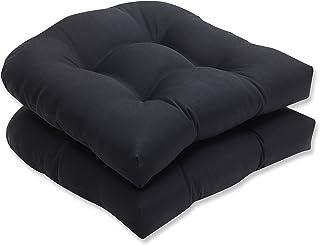 Pillow Perfect Indoor/Outdoor Fresco Wicker Seat Cushion, Black, Set of 2
