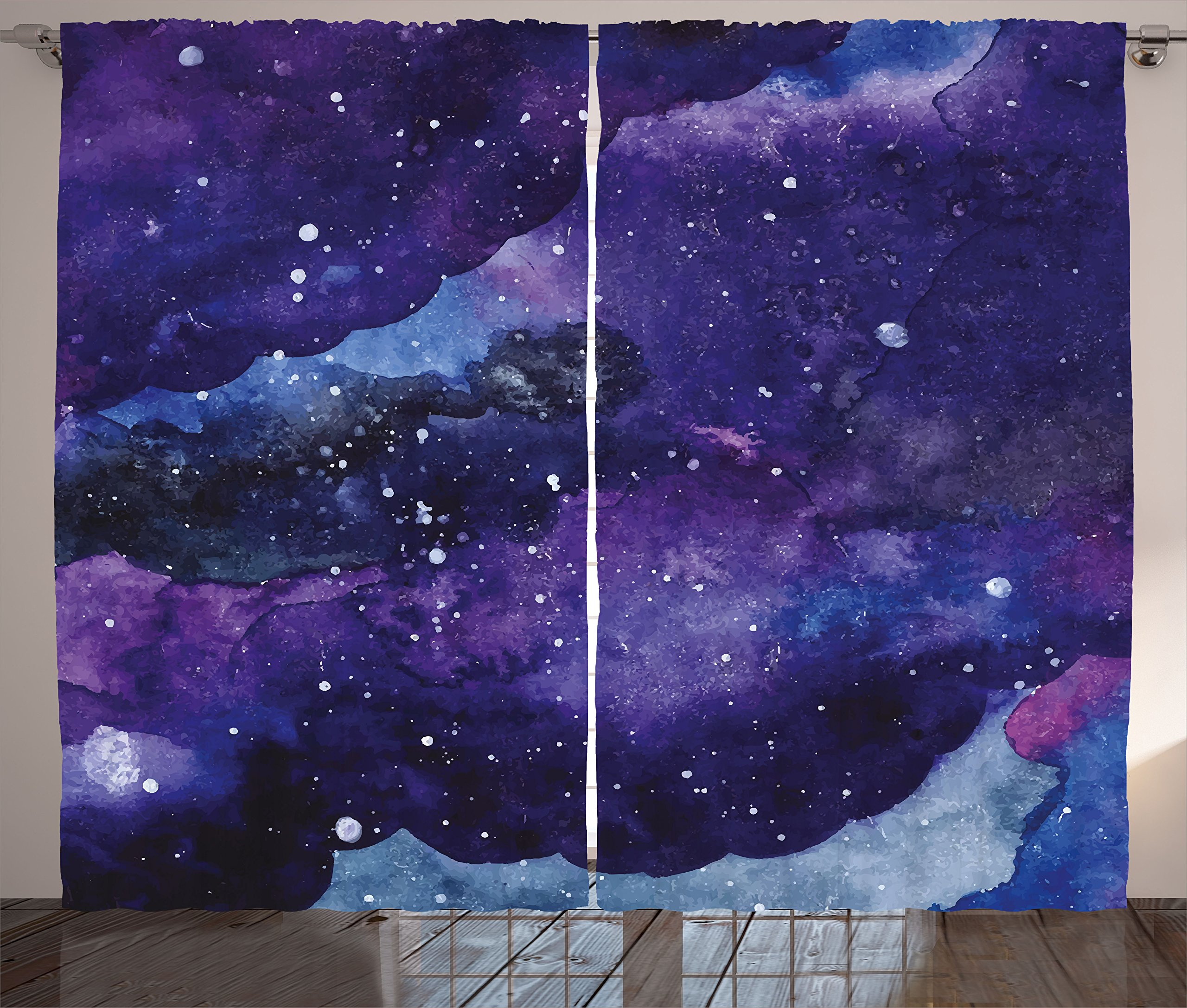 Ambesonne Curtains Strokes Universe Bedroom