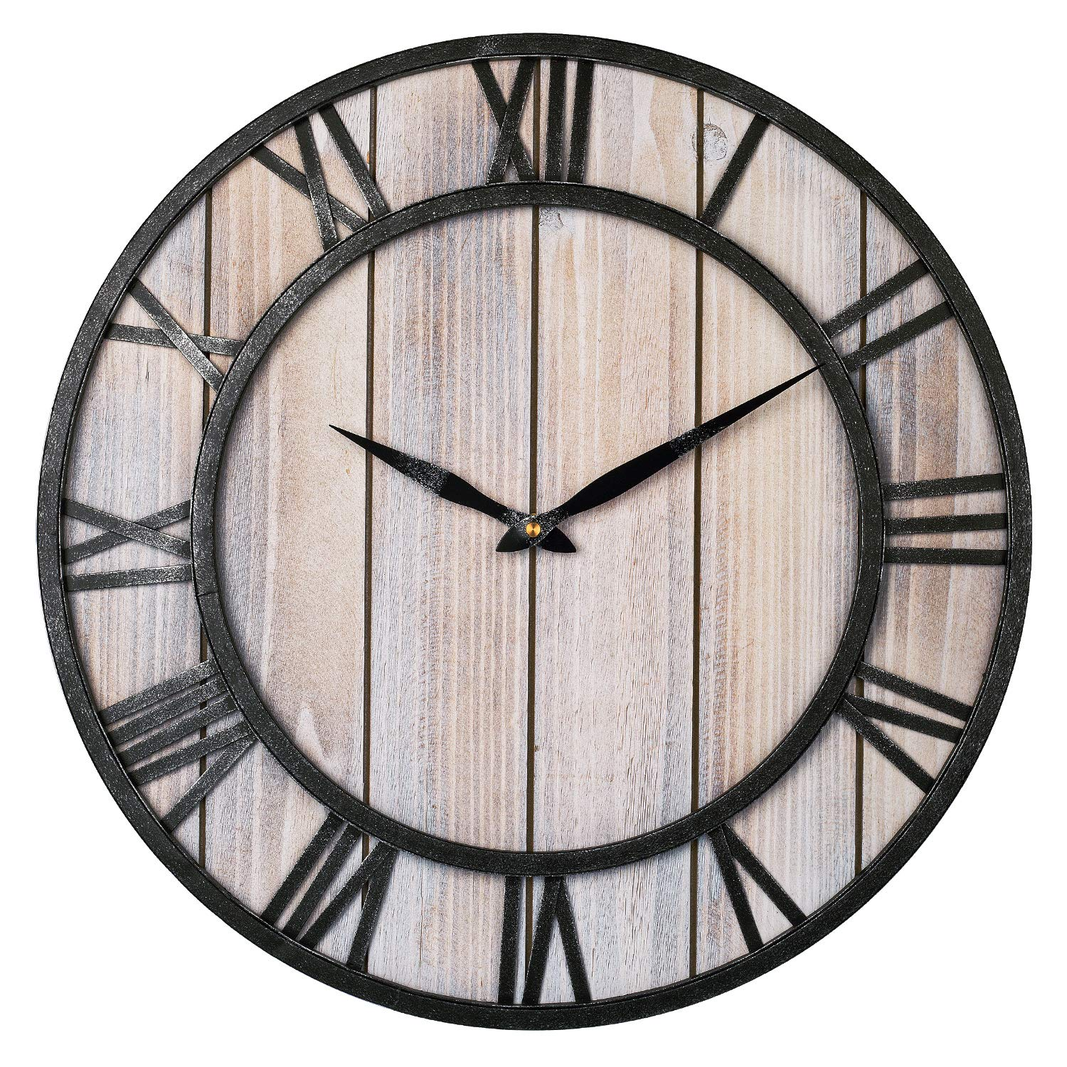 Large Wall Clock Vintage Wooden Farmhouse Decorative Wall Clock With Metal Frame Roman Numeral Silent Battery Operated Buy Online In Aruba At Aruba Desertcart Com Productid 157100001