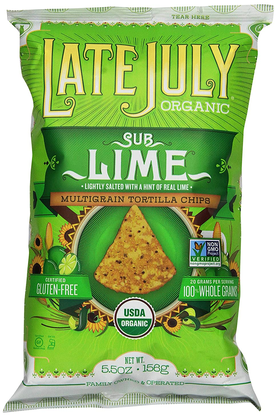 Late July Organic Snacks Chips, SubLime Multigrain, 5.5 Ounce (Pack of 12)