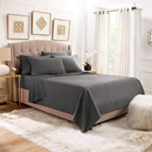 Empyrean Stronger Bed Sheet Set – Holds Longer 110 GSM Heavyweight - Luxury Soft Double Brushed Microfiber – 6 Piece Sheets with 4 Pillowcases – Tight Fit Straps Fitted Sheet – King Size, Dark Gray