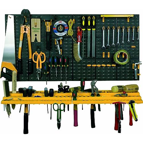 Garage mur outil Kit de rangement outils organiseur Maison Étagères Y Compris 50crochets