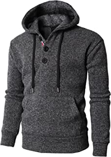 H2H Mens Casual Thermal Pullover Hoodie with Fleece Lining Charcoal US L/Asia XL (KMOHOL0127)