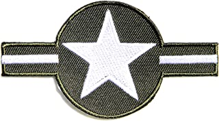 US Air Force USAF Roundel Insignia Plane Symbol Military Pilot Logo Tab Jacket Uniform Patch Sew Iron on Embroidered Sign Badge Costume (green)