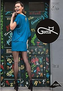 Gatta Damen Feinstrumpfhose 20den 439-25 - Damen Strumpfhose mit Muster schwarz mit Motiv und Naht - Designed & Made in EU