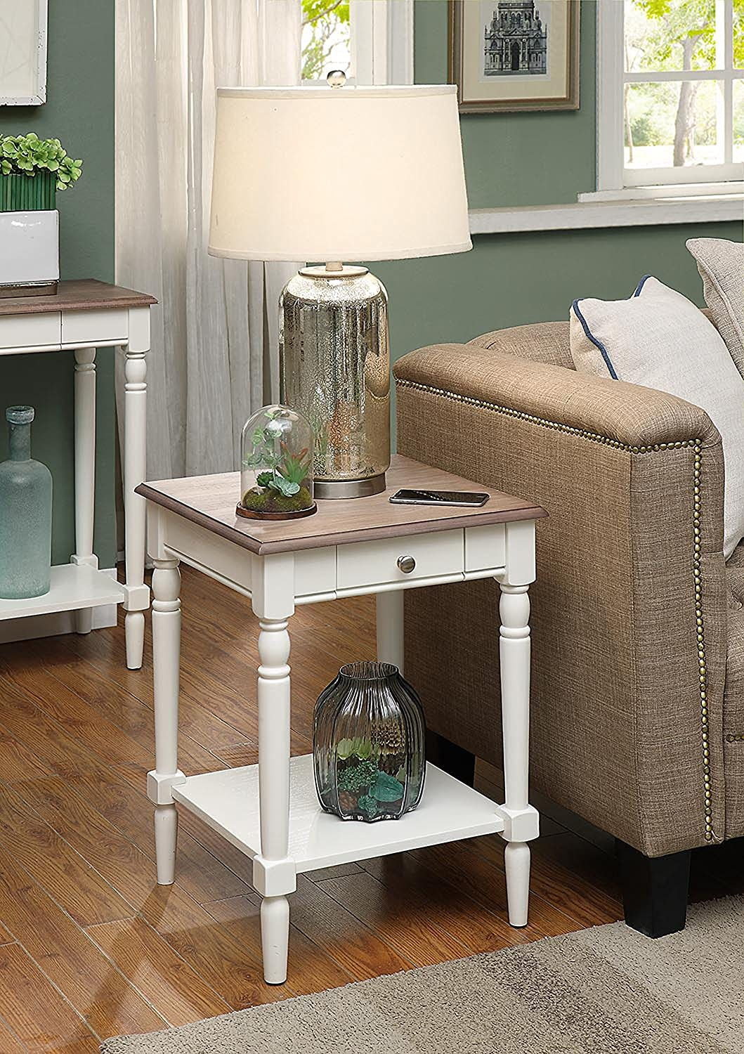 Convenience Concepts French Country End Table with Drawer and Shelf, Driftwood   White