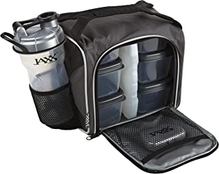 Fit and Fresh 944FFJXGRY Original Jaxx FitPak Insulated Cooler Lunch Box, Meal Prep Bag with Portion Control Containers, Ice Pack, 28 oz Shaker, Standard, Silver