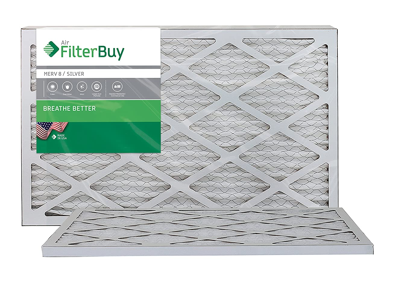 FilterBuy 15x25x1 MERV 8 Pleated AC Furnace Air Filter, (Pack of 2 Filters), 15x25x1 – Silver