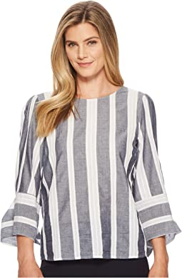 Cotton Striped Tie Sleeve Blouse