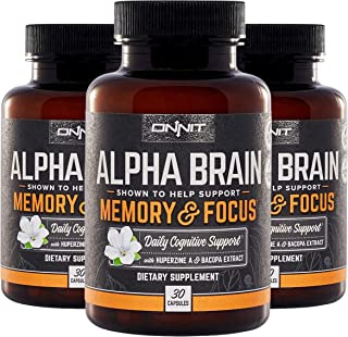 ONNIT Alpha Brain (90ct) - Over 1 Million Bottles Sold - Premium Nootropic Brain Supplement - Focus, Concen...