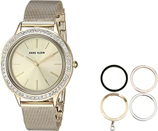 Anne Klein Women's Swarovski Crystal Accented Watch and Interchangeable Bezel Set
